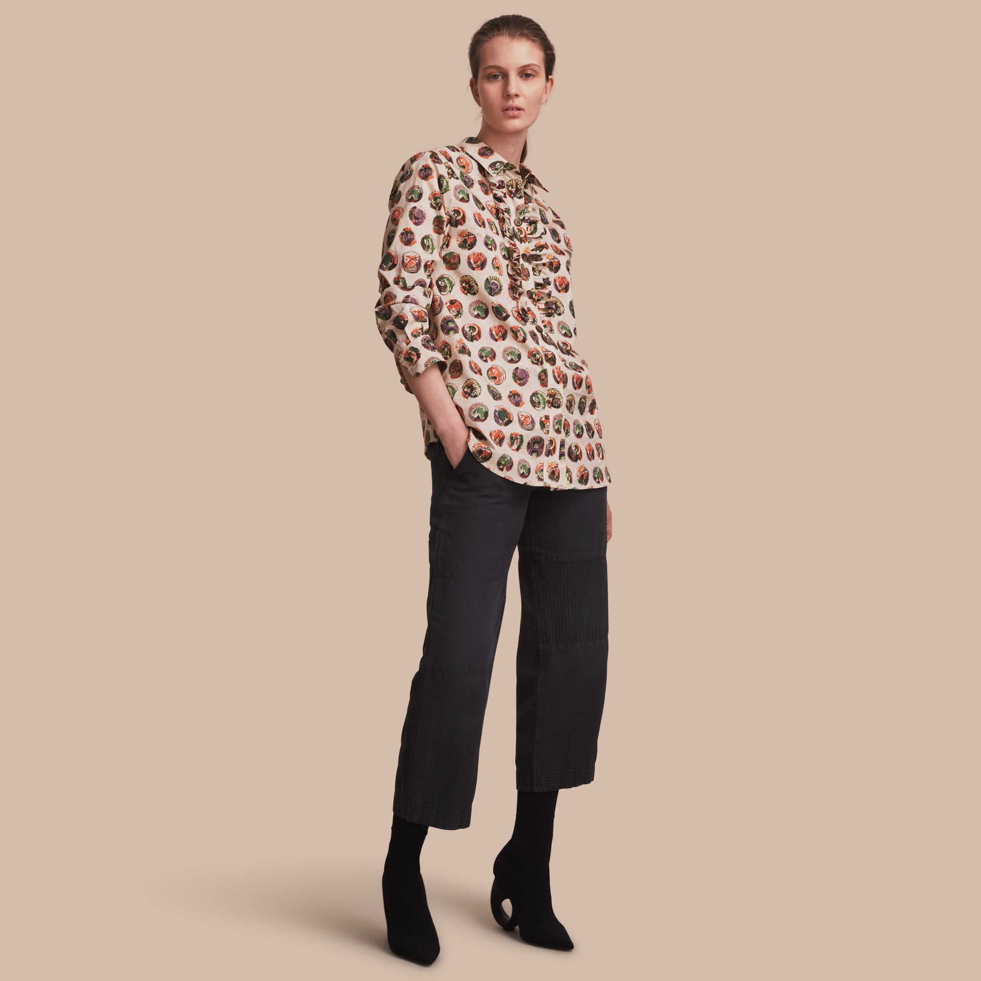 Pallas Heads Print Cotton Shirt in Natural White - Women | Burberry - gallery image 1