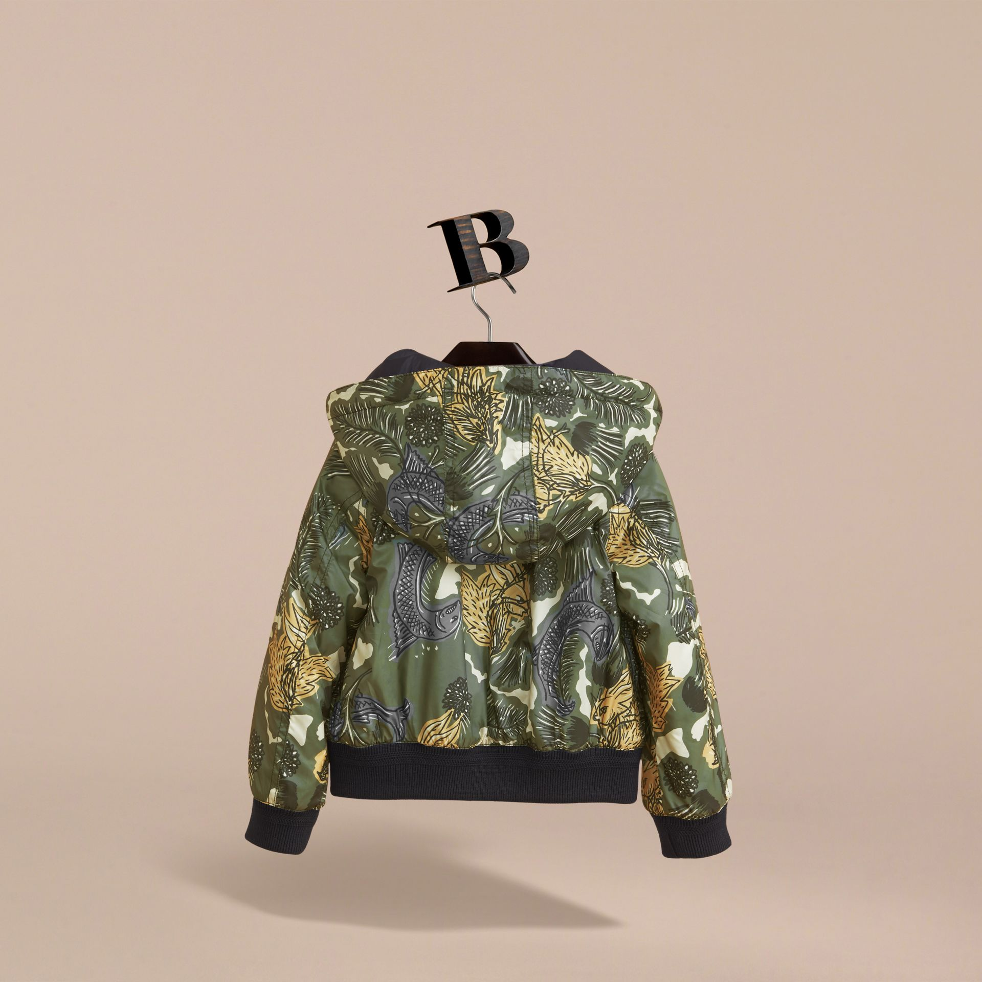 Beasts Print Hooded Bomber Jacket in Sage Green | Burberry - gallery image 4
