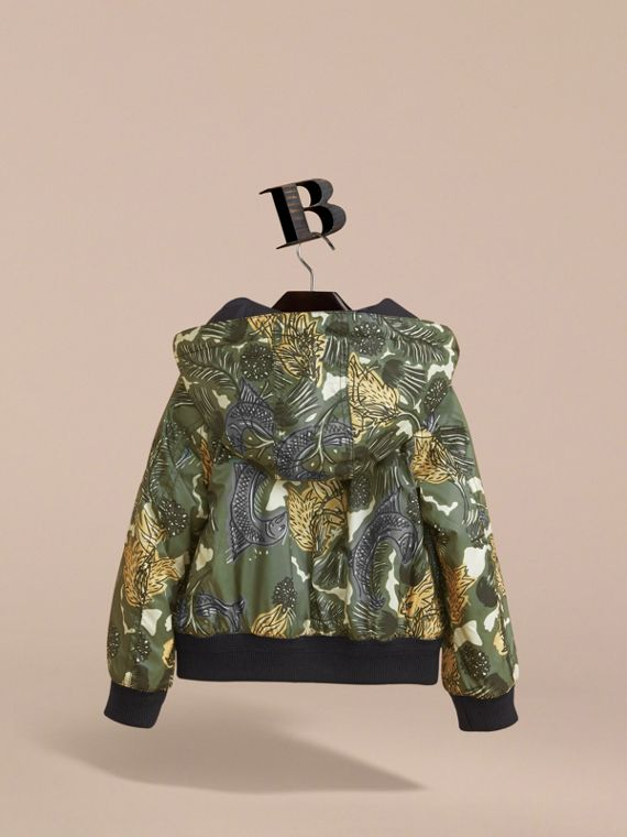 Beasts Print Hooded Bomber Jacket in Sage Green - Boy | Burberry - cell image 3