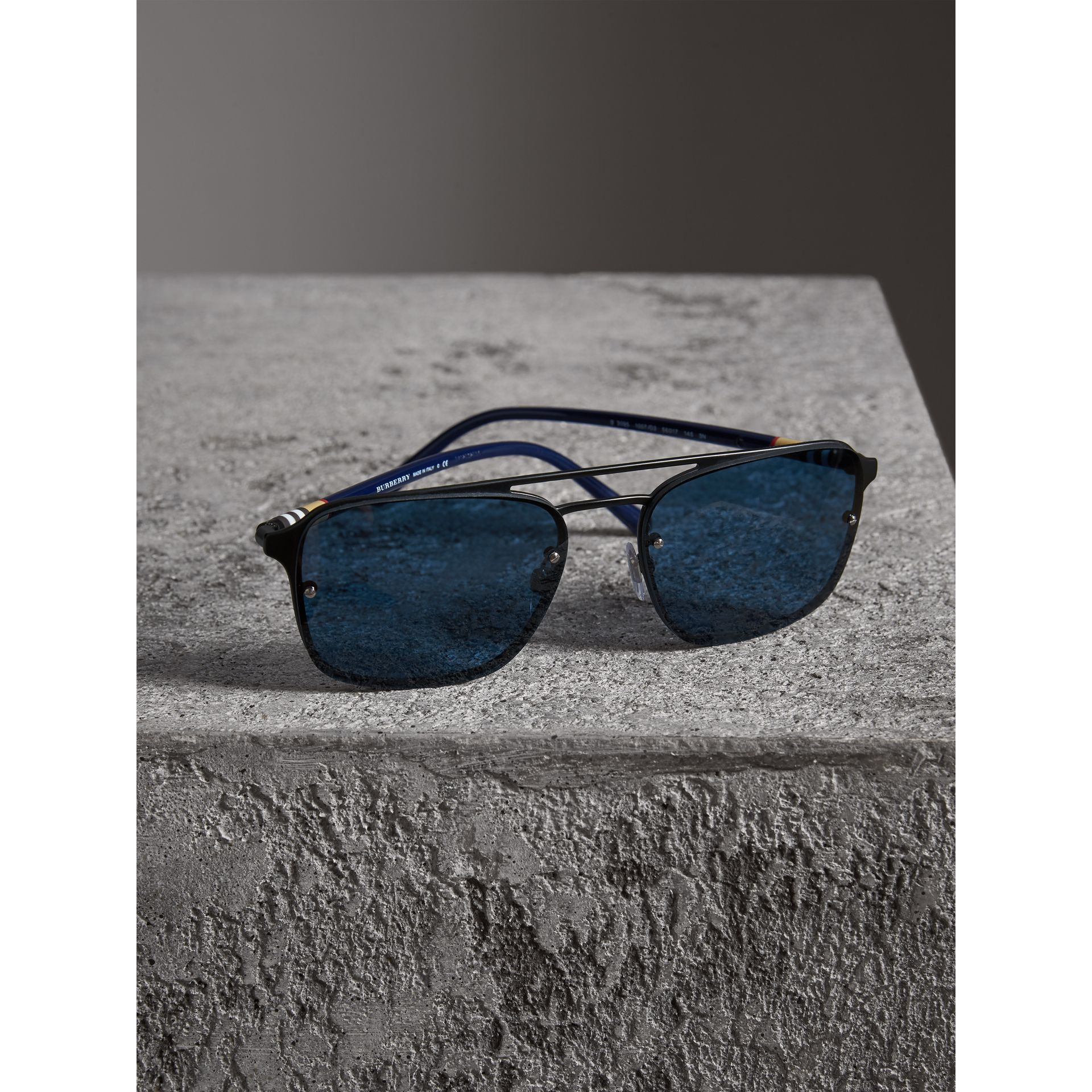 Square Frame Metal Sunglasses in Black/blue - Men | Burberry - gallery image 2