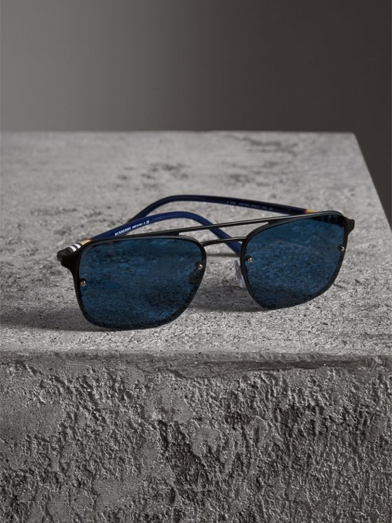 Square Frame Metal Sunglasses in Black/blue - Men | Burberry - cell image 2