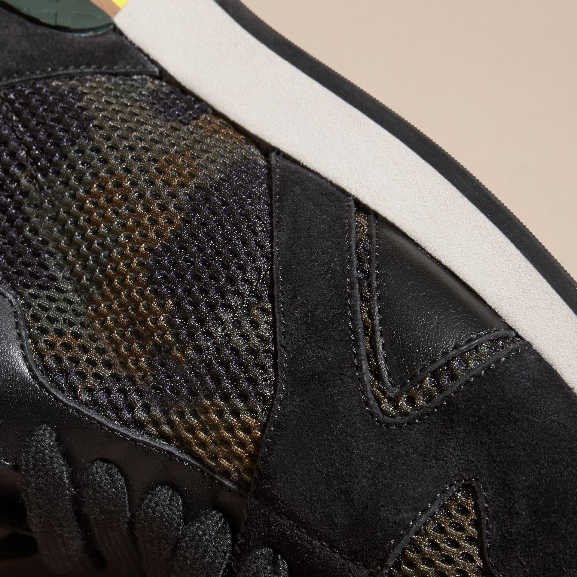 Dark green ochre The Field Sneaker in Suede and Camouflage Mesh - gallery image 2