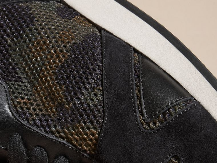 Dark green ochre The Field Sneaker in Suede and Camouflage Mesh - cell image 1