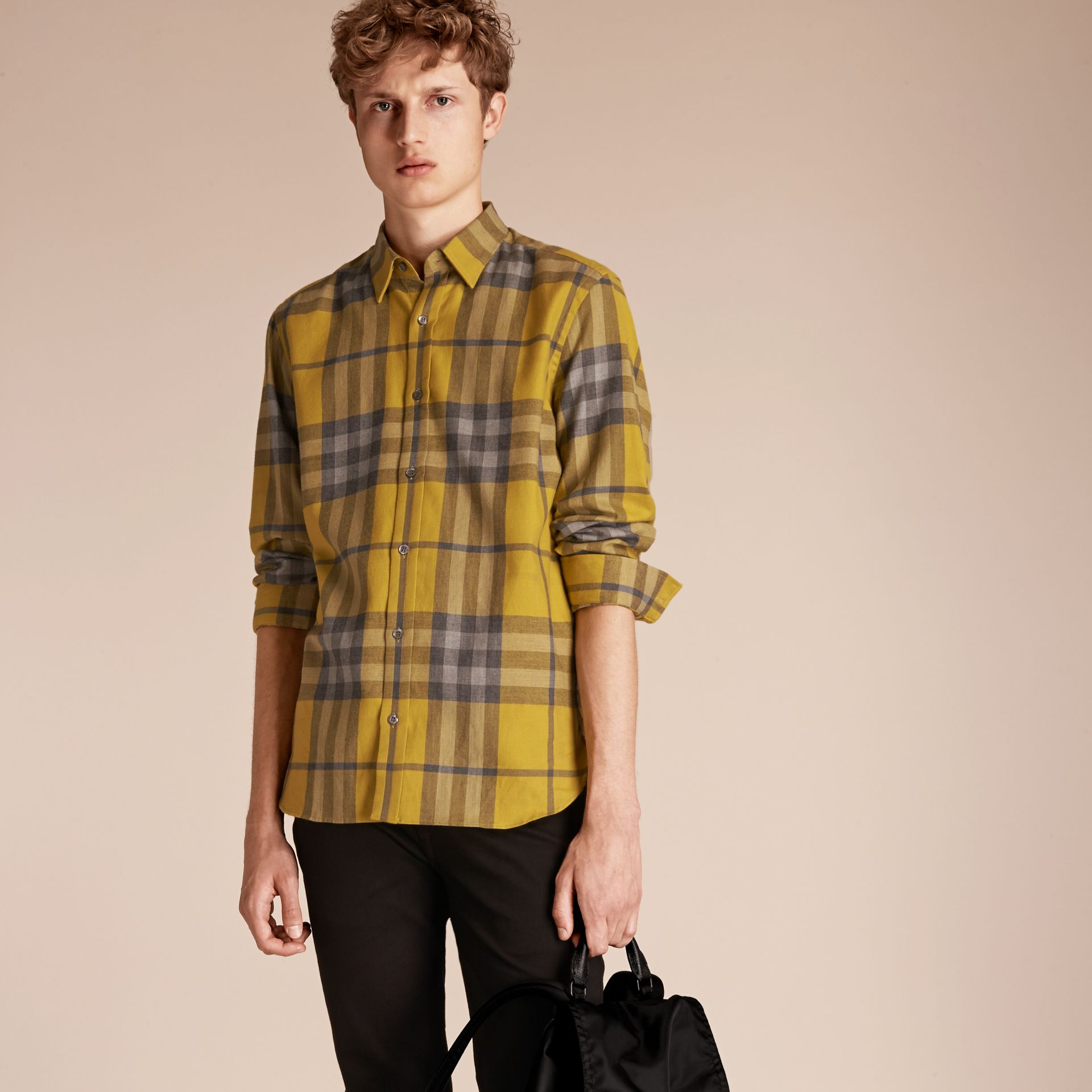 Check Cotton Cashmere Flannel Shirt in Larch Yellow - gallery image 6