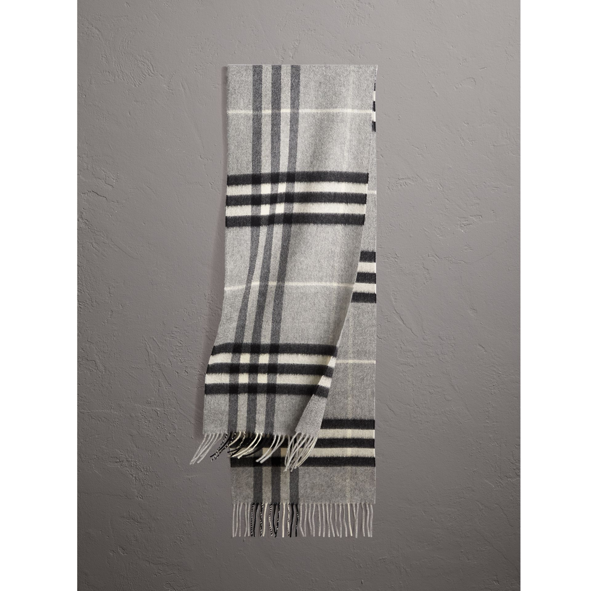 The Classic Check Cashmere Scarf in Pale Grey | Burberry Singapore - gallery image 1