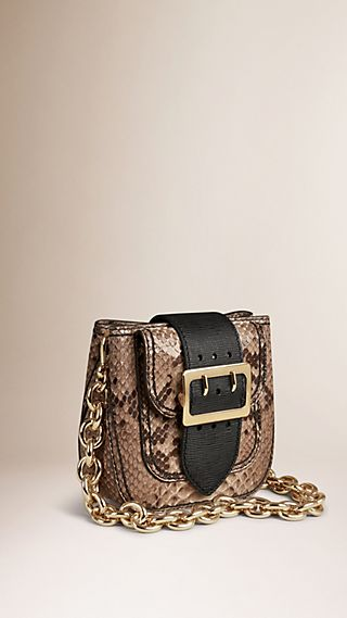 Sac The Belt carré en python et cuir texturé