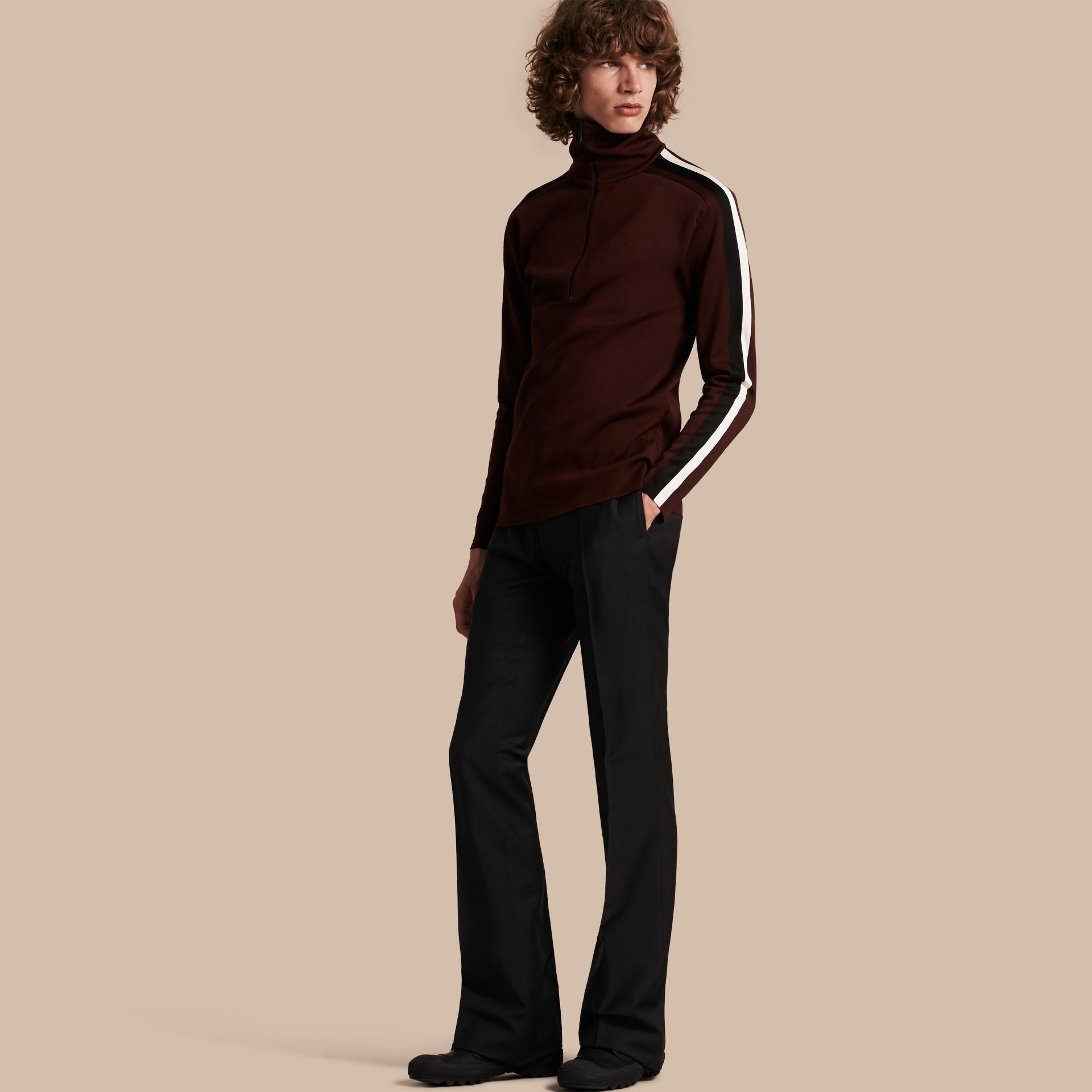Blu peltro Pantaloni a fondo ampio in misto mohair e lana - immagine della galleria 1