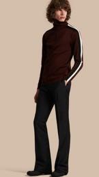 Mohair Wool Blend Boot-cut Trousers