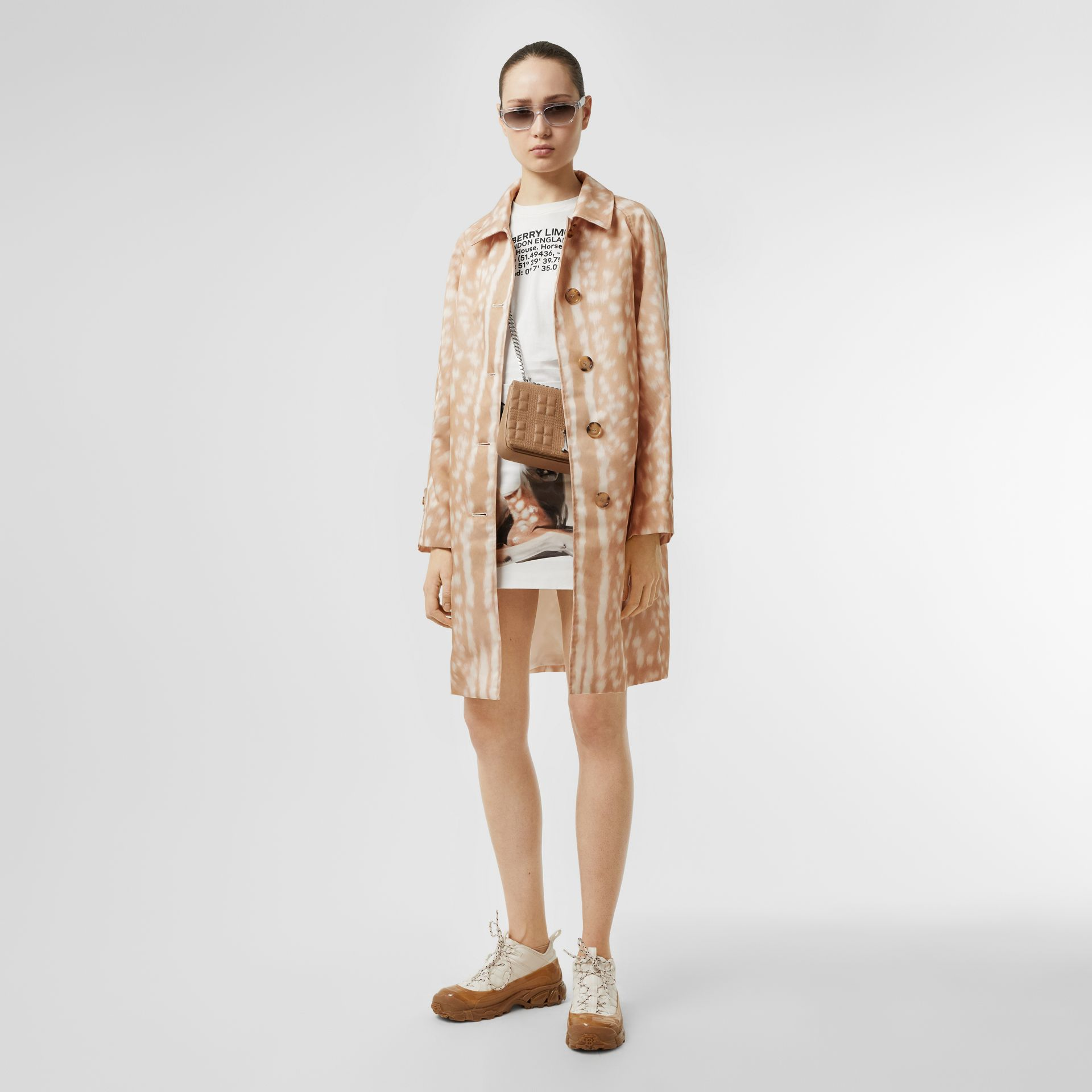 Deer Print Nylon Car Coat in Soft Fawn - Women | Burberry United Kingdom - gallery image 0