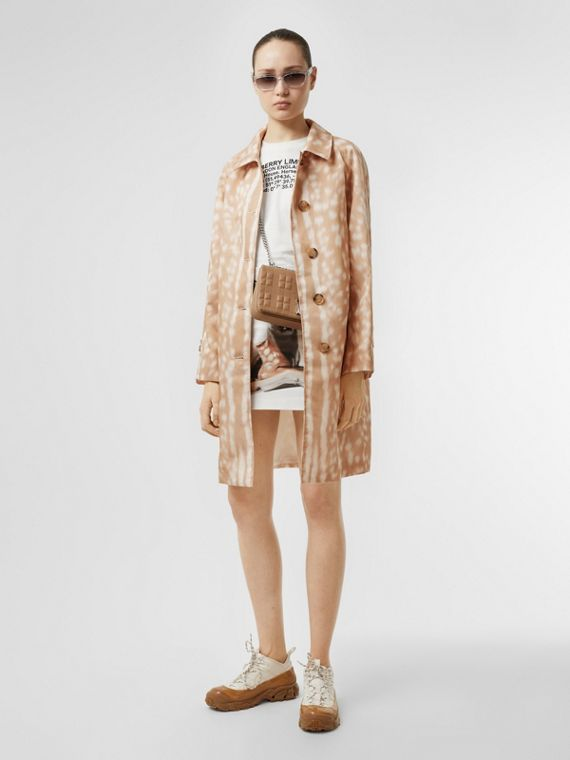 Deer Print Nylon Car Coat in Soft Fawn
