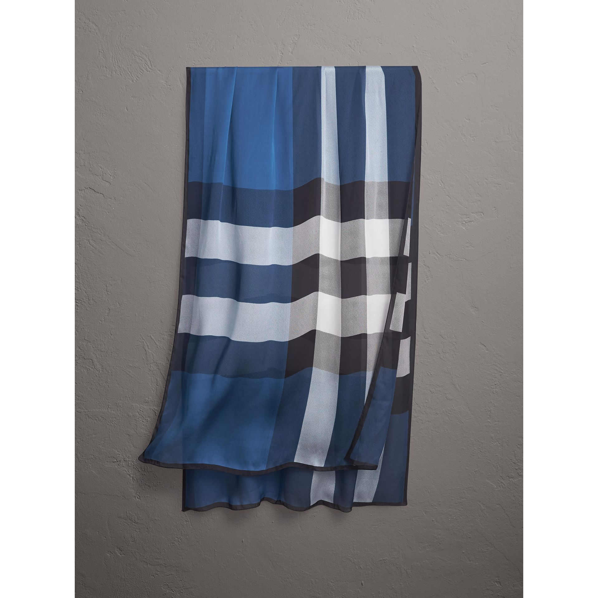 Lightweight Check Silk Scarf in Cadet Blue - Women | Burberry - gallery image 0