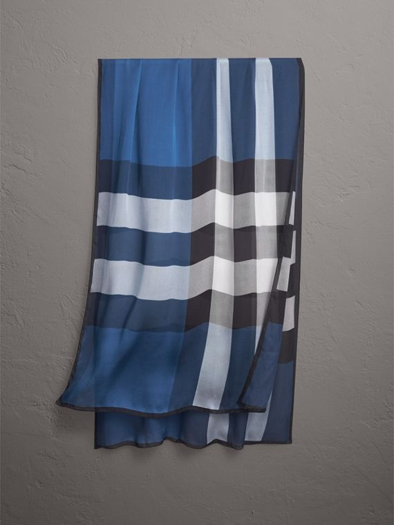 Lightweight Check Silk Scarf in Cadet Blue