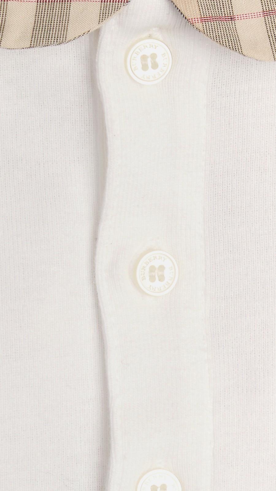 White Check Collar Bodysuit - Image 2