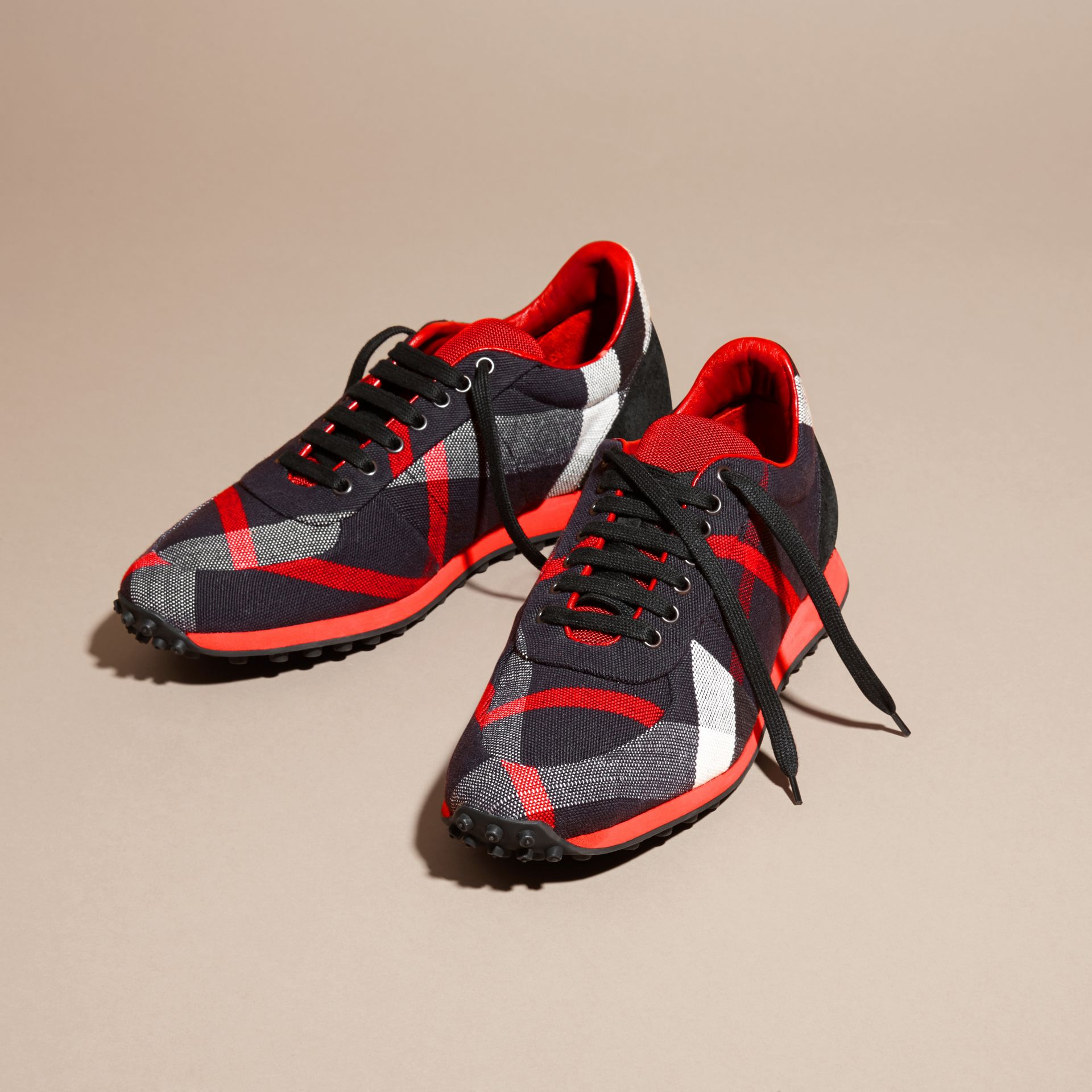 Navy/militay red Textural Trim Canvas Check Sneakers Navy/militay Red - gallery image 3