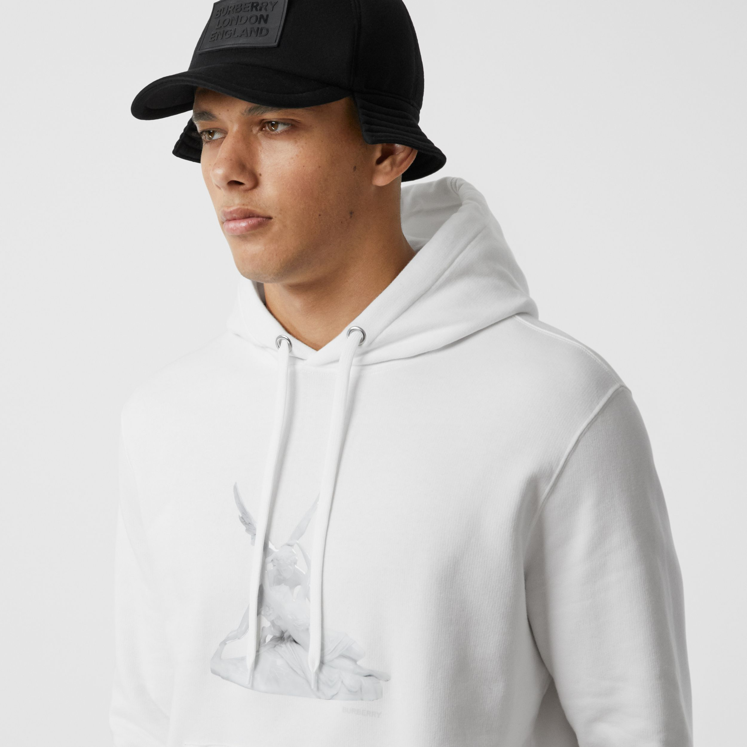Cupid Print Cotton Oversized Hoodie in White - Men | Burberry - 2