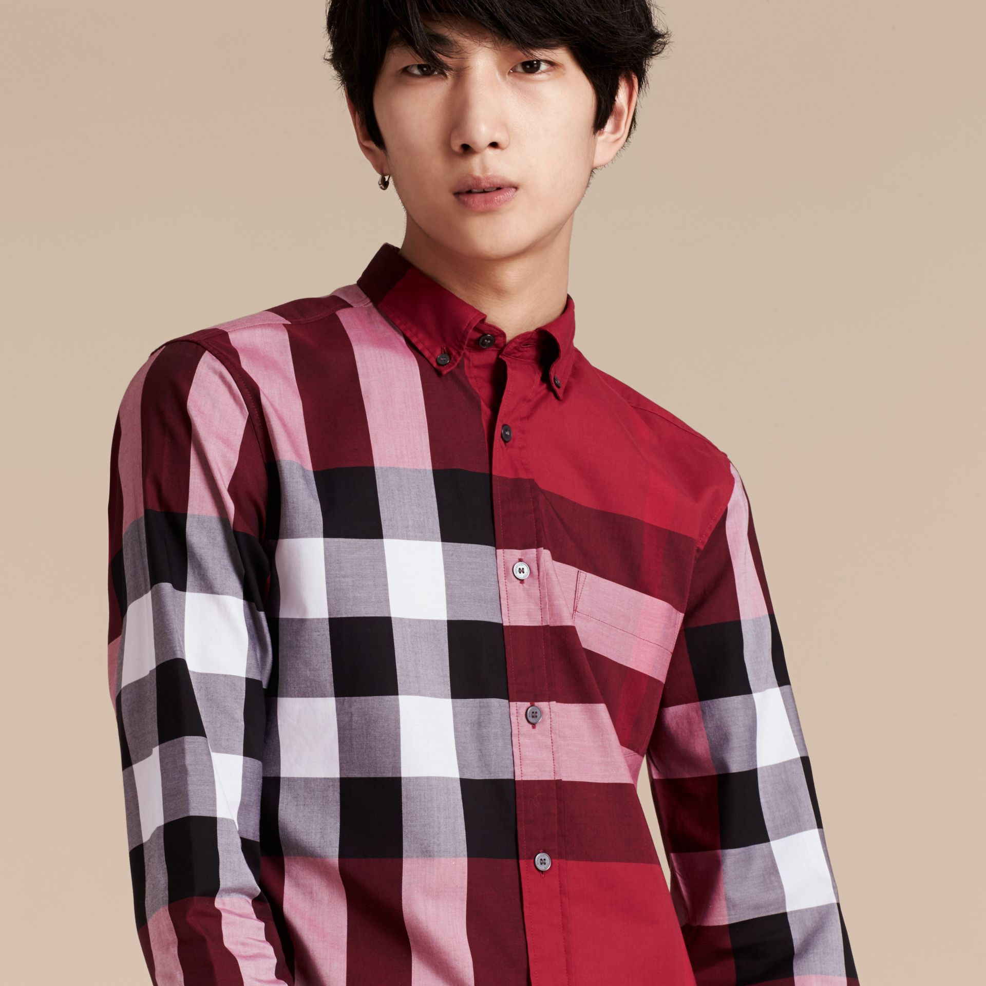 Berry red Check Cotton Shirt Berry Red - gallery image 6