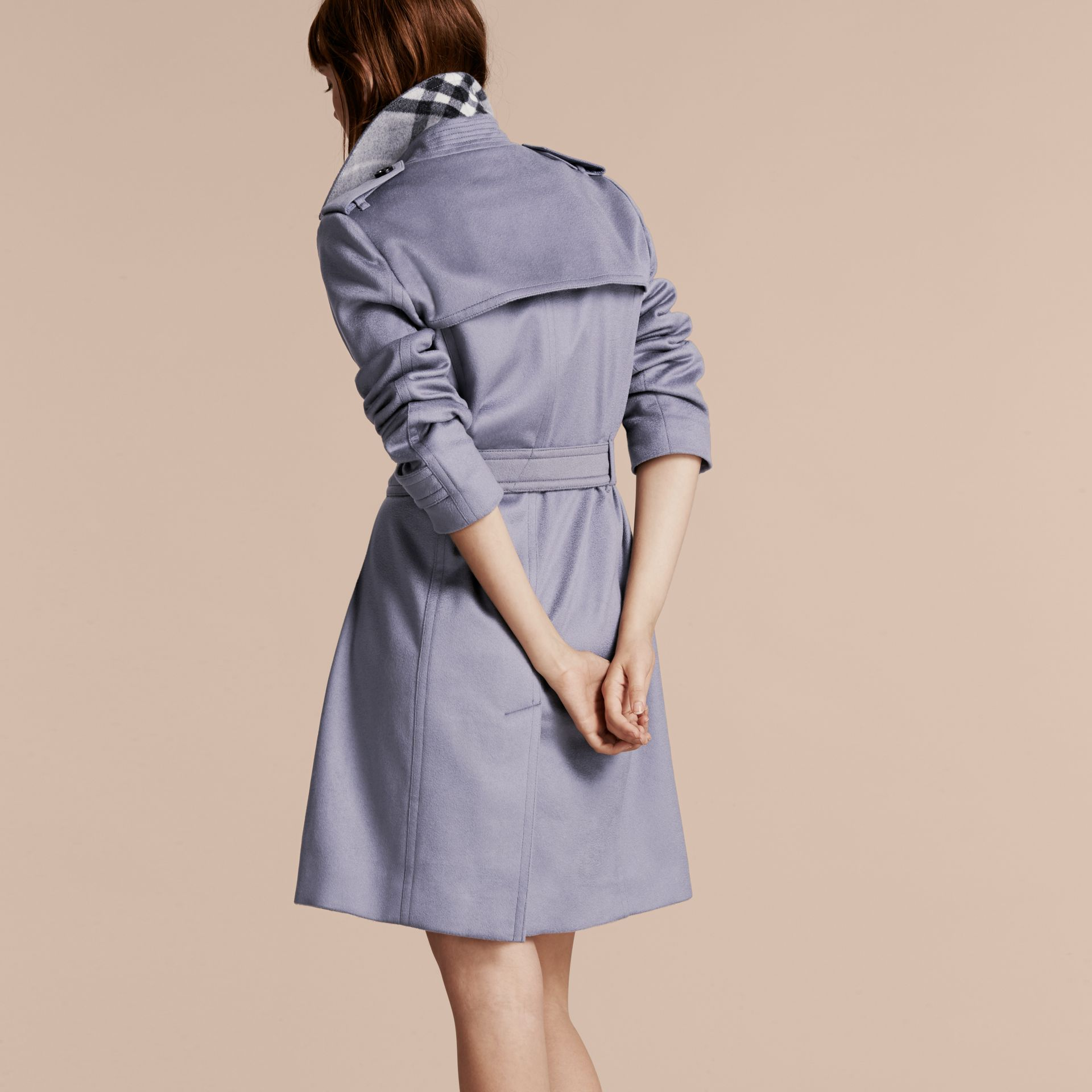 Cashmere Wrap Trench Coat in Dusty Blue - gallery image 3