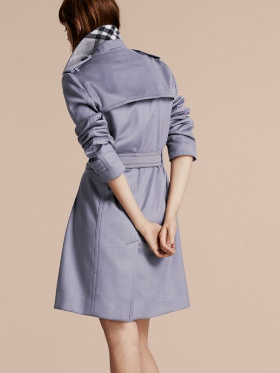 Cashmere Wrap Trench Coat in Dusty Blue - cell image 2