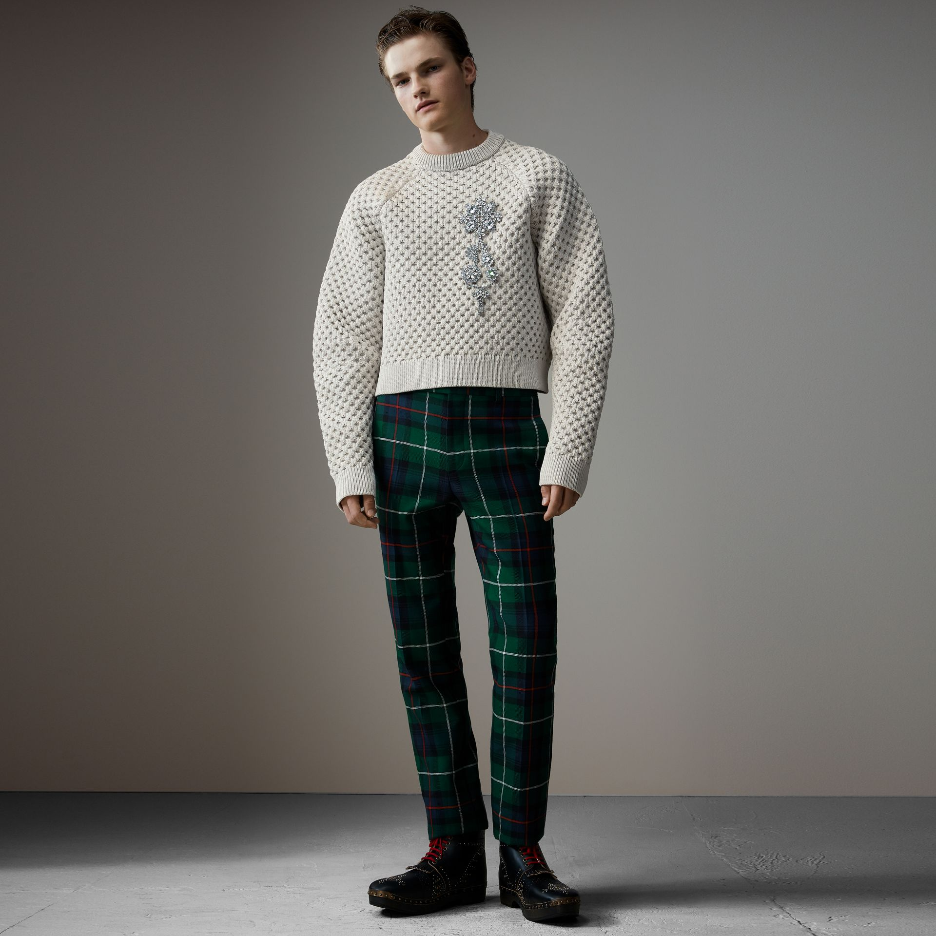 Tartan Wool Cropped Tailored Trousers in Forest Green - Men | Burberry - gallery image 0