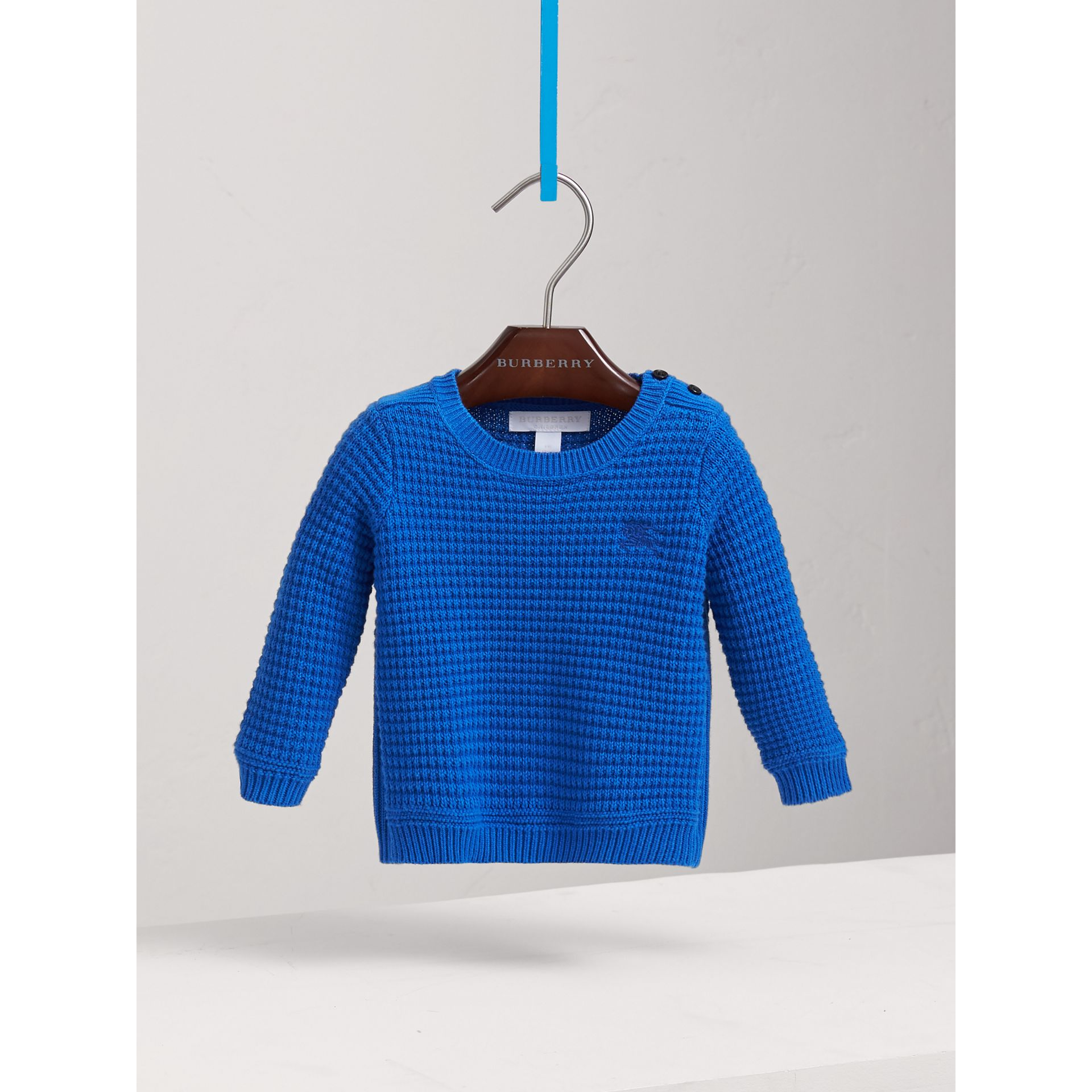 Waffle Knit Cotton Sweater in Cobalt Blue | Burberry Singapore - gallery image 0