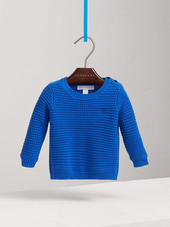Waffle Knit Cotton Sweater in Cobalt Blue