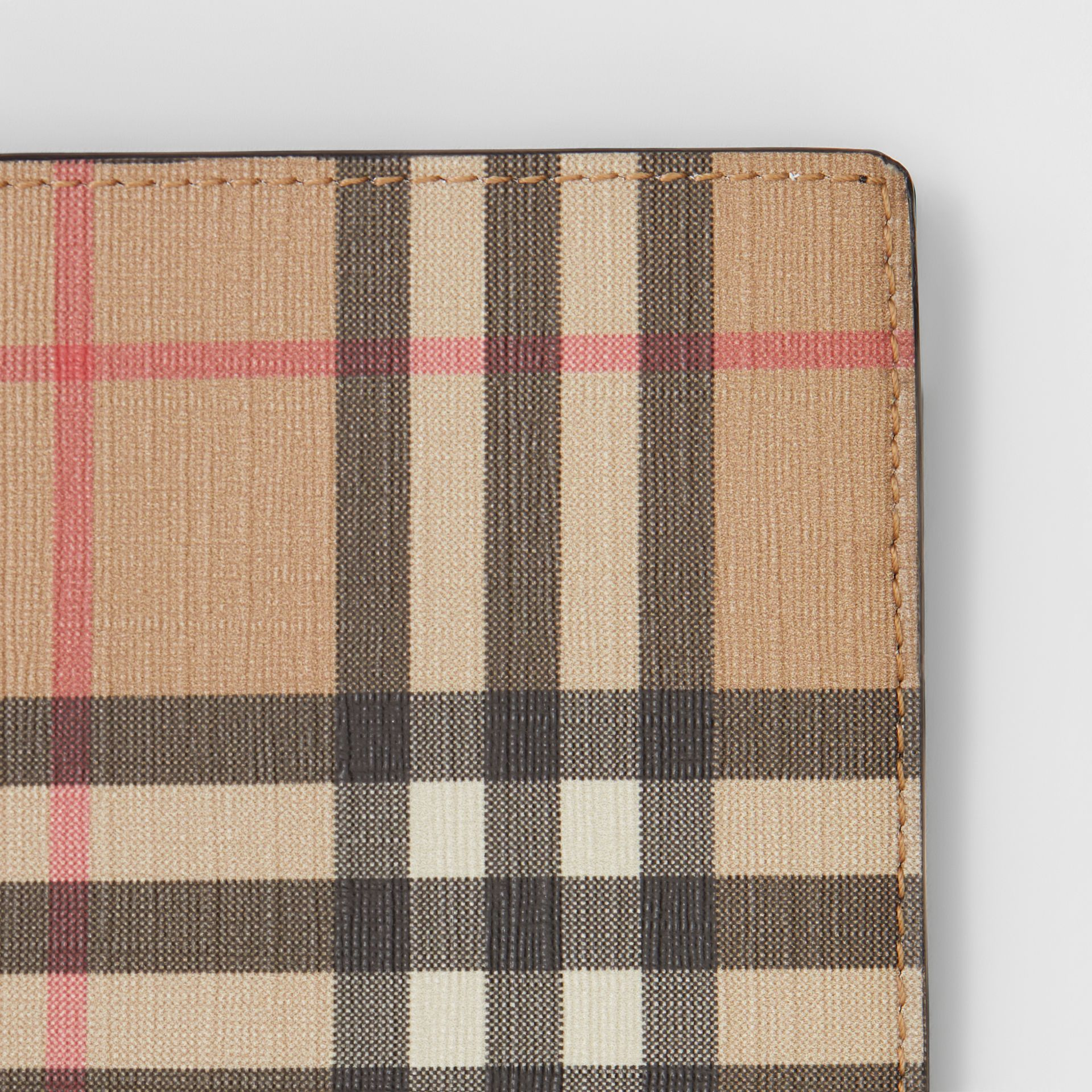 Vintage Check E-canvas Wallet with ID Card Case in Archive Beige - Men | Burberry - gallery image 1