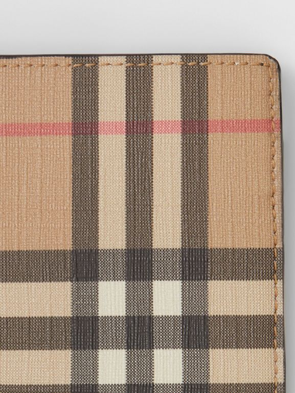 Vintage Check E-canvas Wallet with ID Card Case in Archive Beige - Men | Burberry United Kingdom - cell image 1