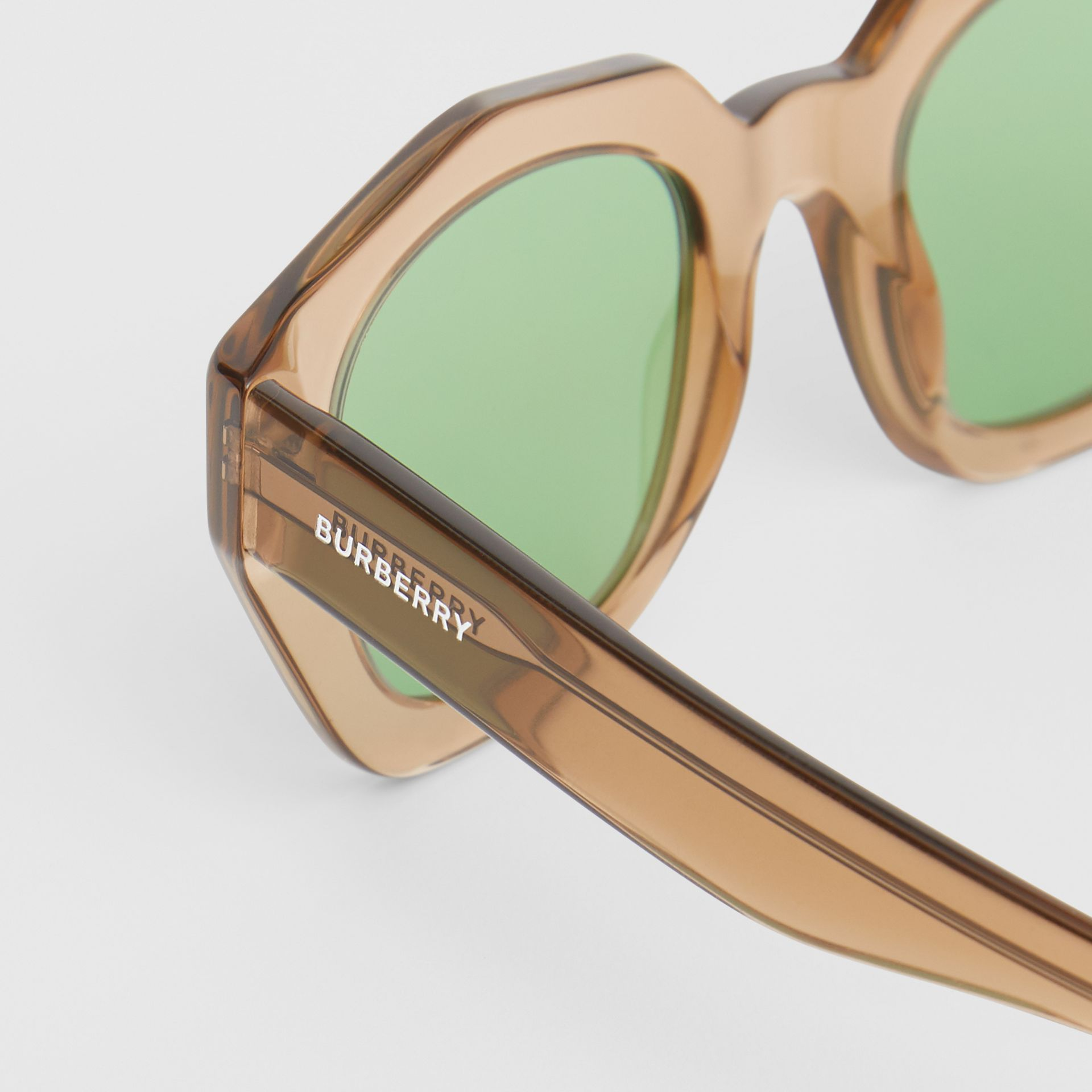 Geometric Frame Sunglasses in Brown - Women | Burberry - gallery image 1