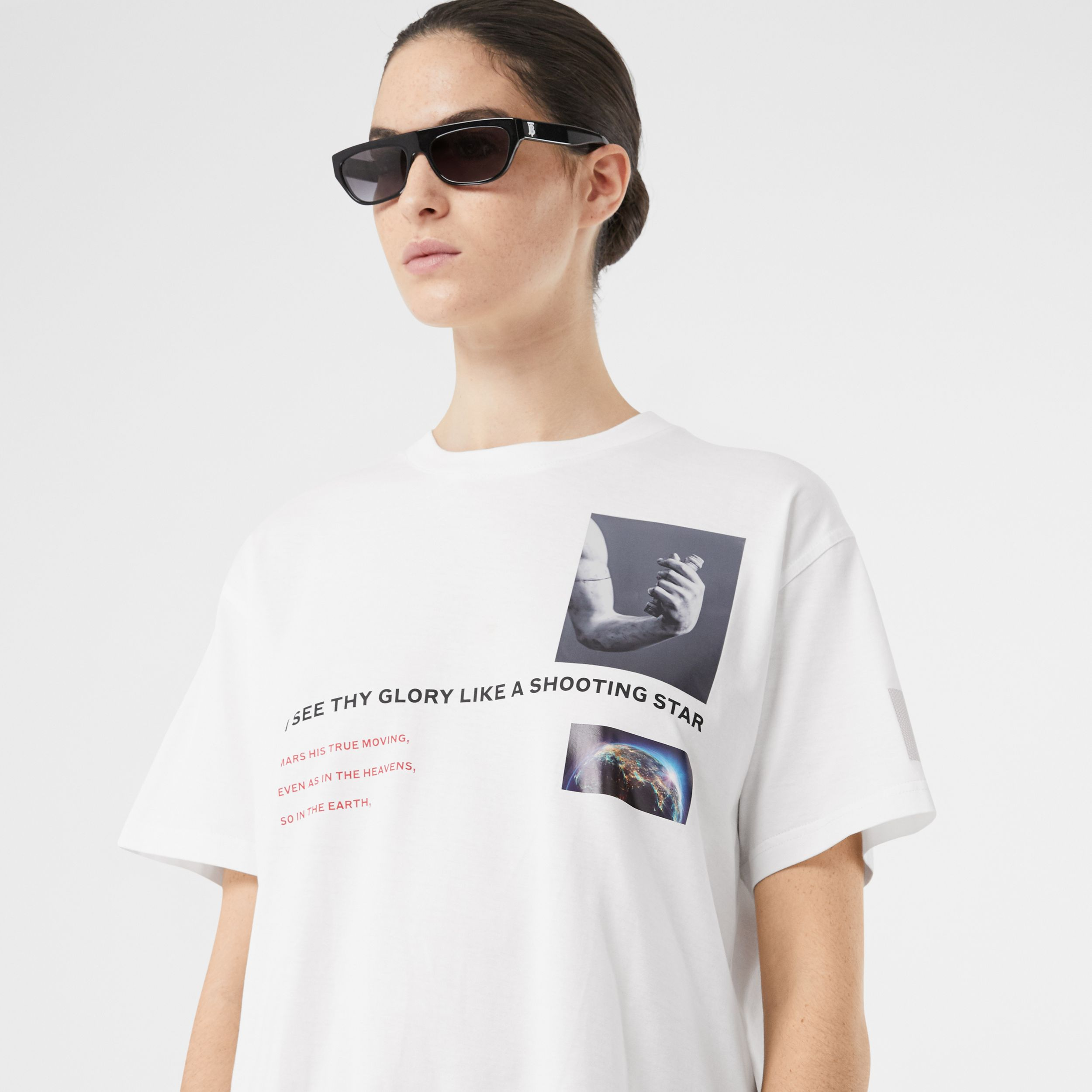 Montage Print Cotton Oversized T-shirt in White - Women | Burberry - 2