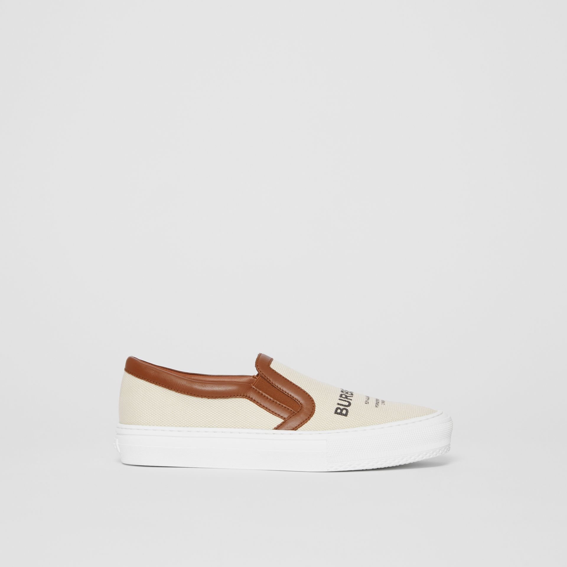 Horseferry Print Cotton and Leather Slip-on Sneakers in Malt Brown - Women | Burberry - gallery image 5