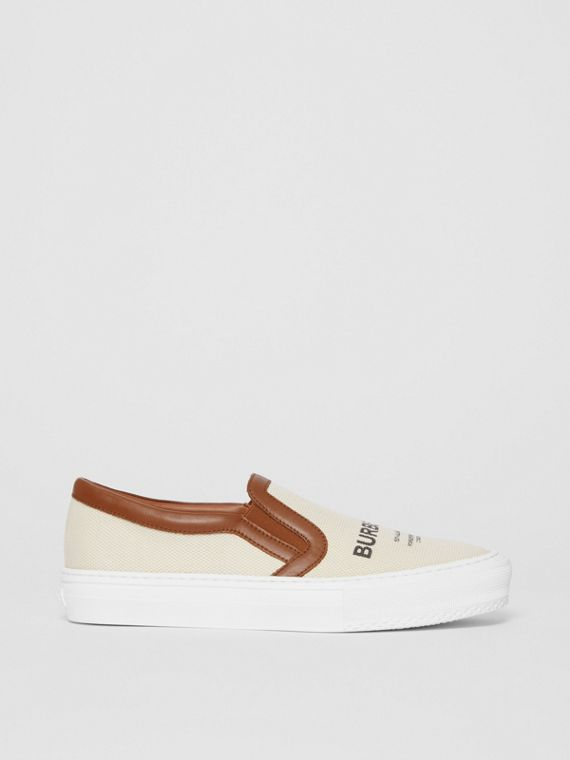 Horseferry Print Cotton and Leather Slip-on Sneakers in Malt Brown