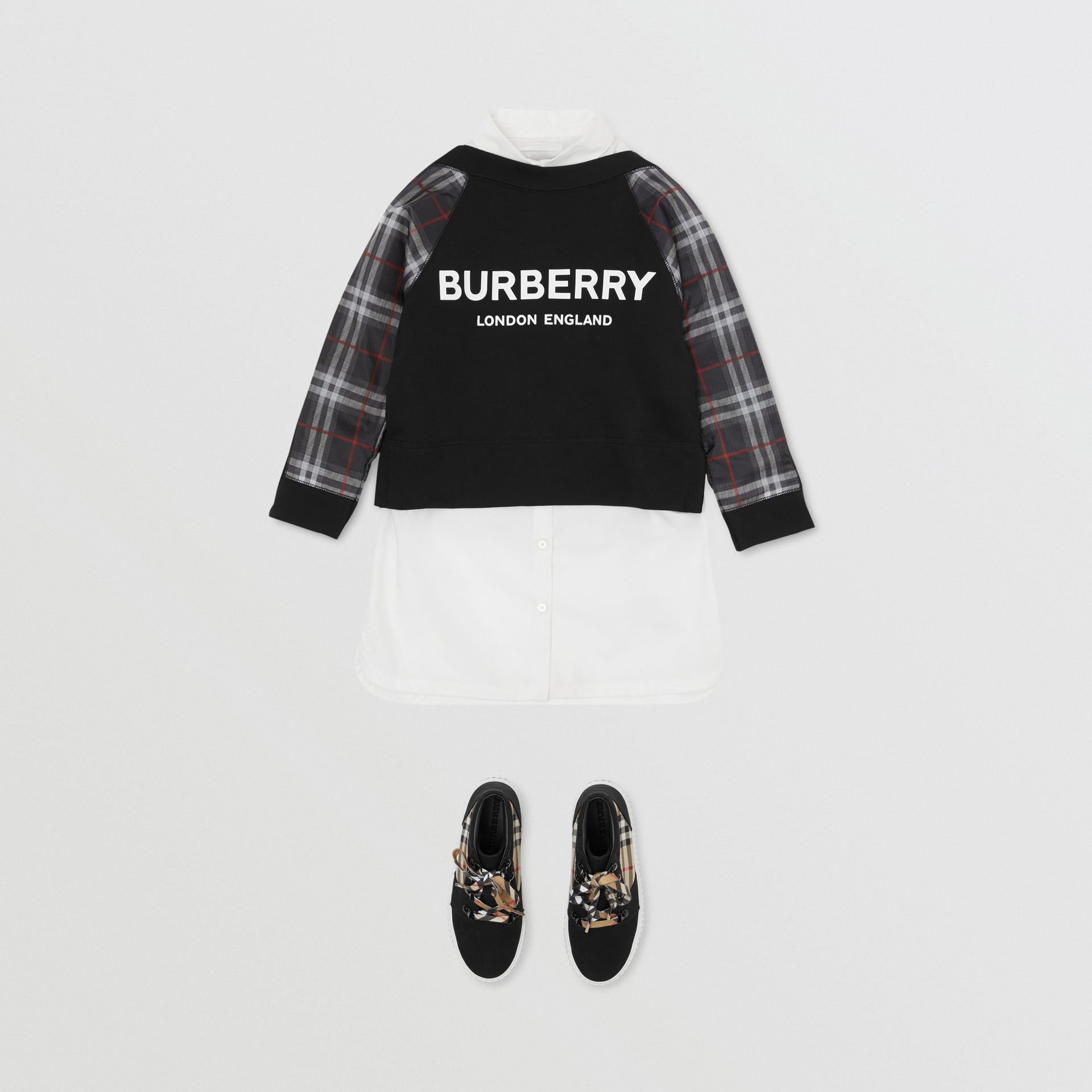 Vintage Check Detail Logo Print Cotton Sweatshirt in Black | Burberry - gallery image 2