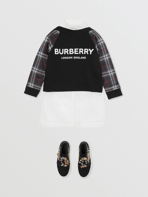 Vintage Check Detail Logo Print Cotton Sweatshirt in Black | Burberry - cell image 2