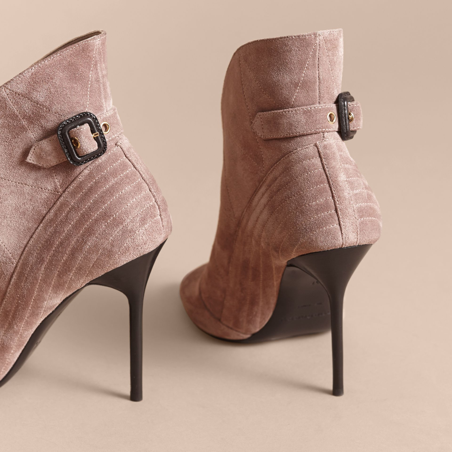 Buckle Detail Suede Peep-toe Ankle Boots in Ivory Pink - Women | Burberry - gallery image 4
