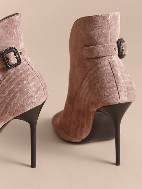 Buckle Detail Suede Peep-toe Ankle Boots in Ivory Pink - Women | Burberry - cell image 3