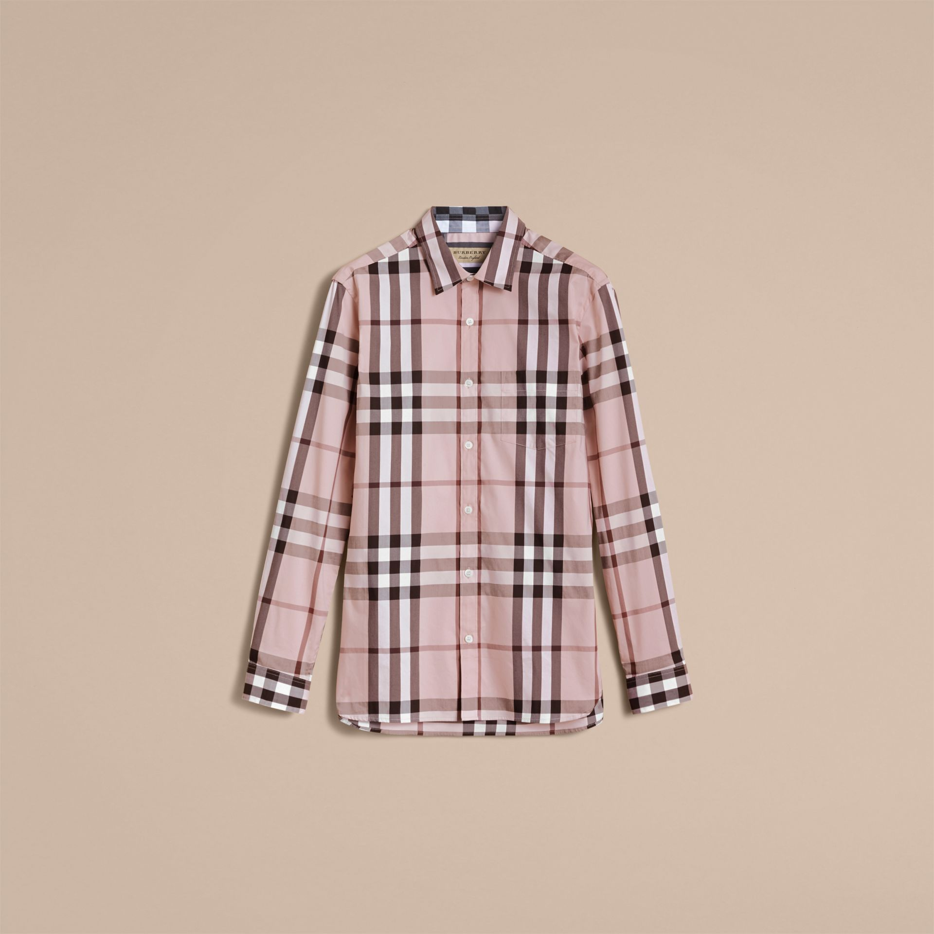 Check Stretch Cotton Shirt in Chalk Pink - Men | Burberry - gallery image 4