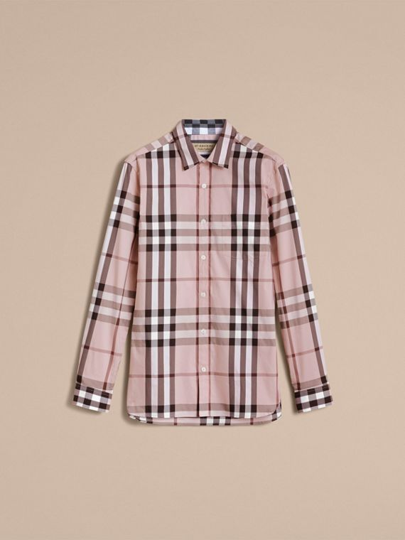 Check Stretch Cotton Shirt in Chalk Pink - Men | Burberry - cell image 3