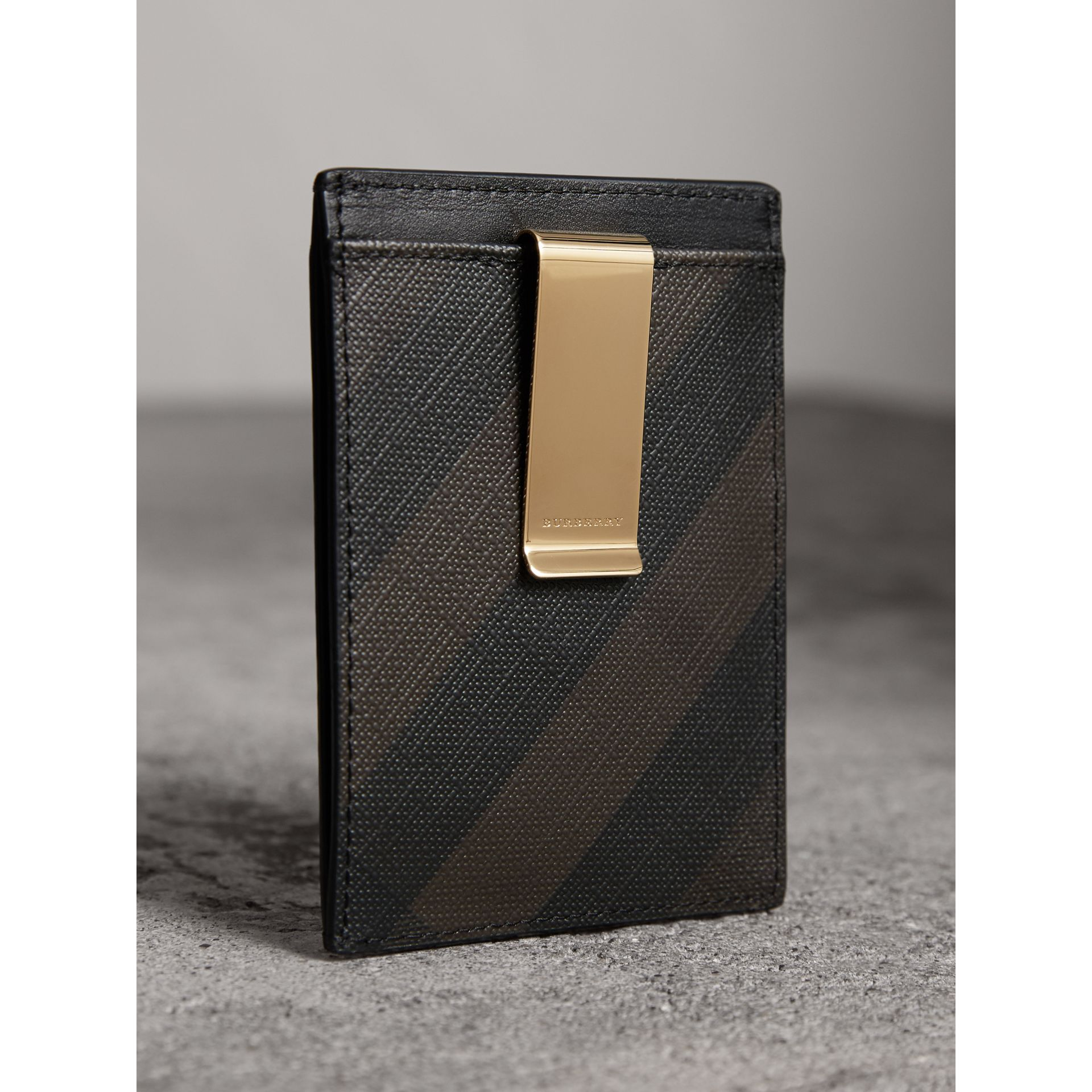 London Check Money Clip Card Case in Chocolate/black - Men | Burberry United States - gallery image 3