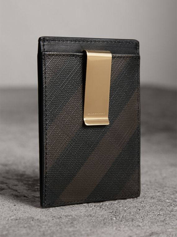 London Check Money Clip Card Case in Chocolate/black - Men | Burberry - cell image 2