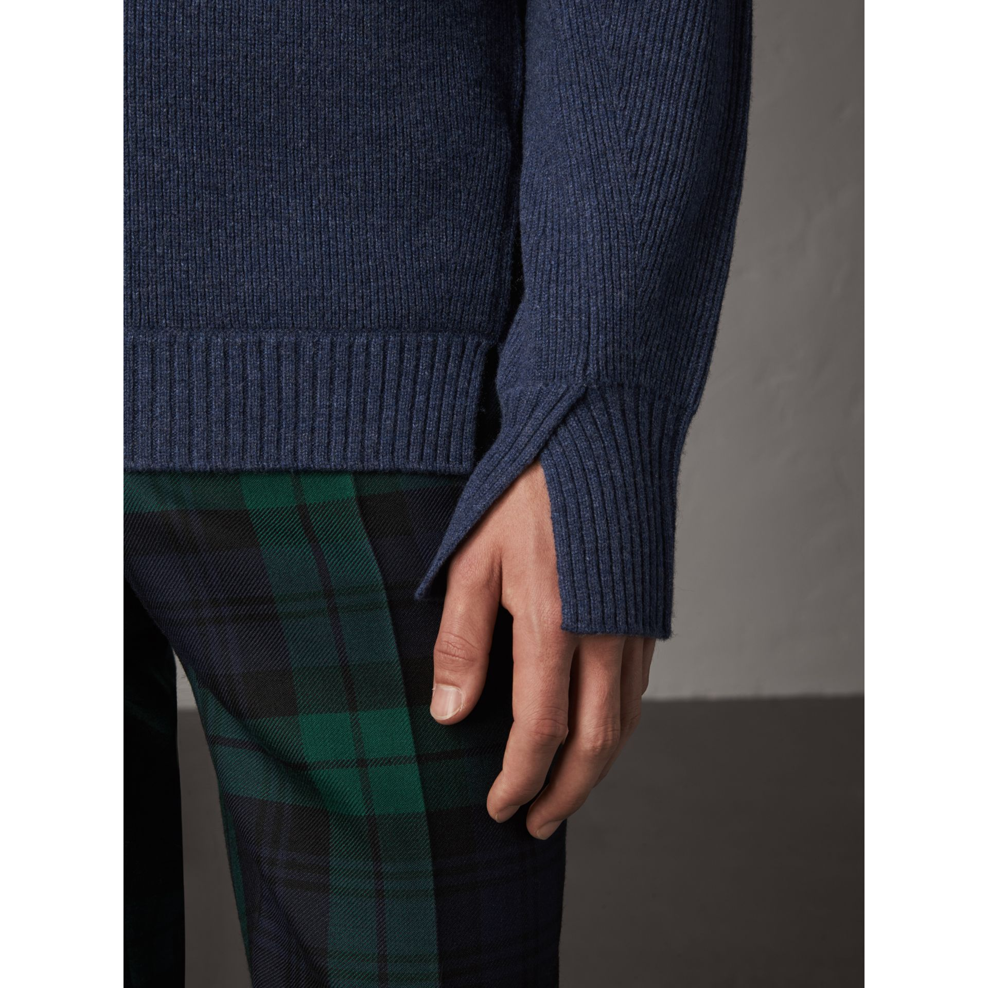 Zip Funnel-neck Wool Cashmere Sweater in Canvas Blue - Men | Burberry United Kingdom - gallery image 1