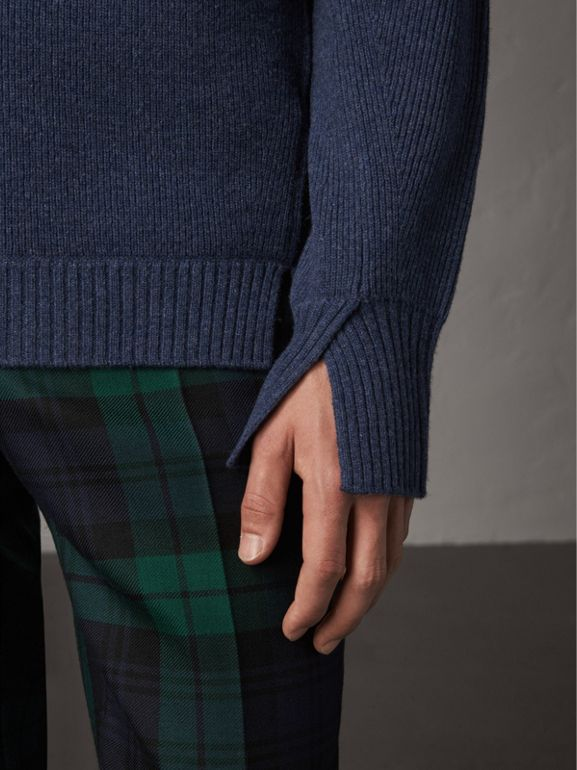 Zip Funnel-neck Wool Cashmere Sweater in Canvas Blue - Men | Burberry United Kingdom - cell image 1