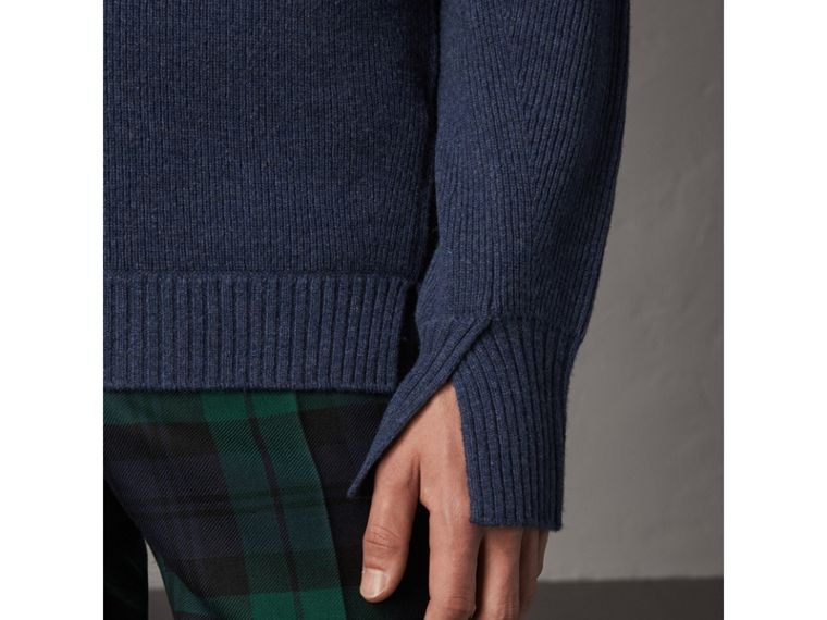 Zip Funnel-neck Wool Cashmere Sweater in Canvas Blue - Men | Burberry Singapore - cell image 1