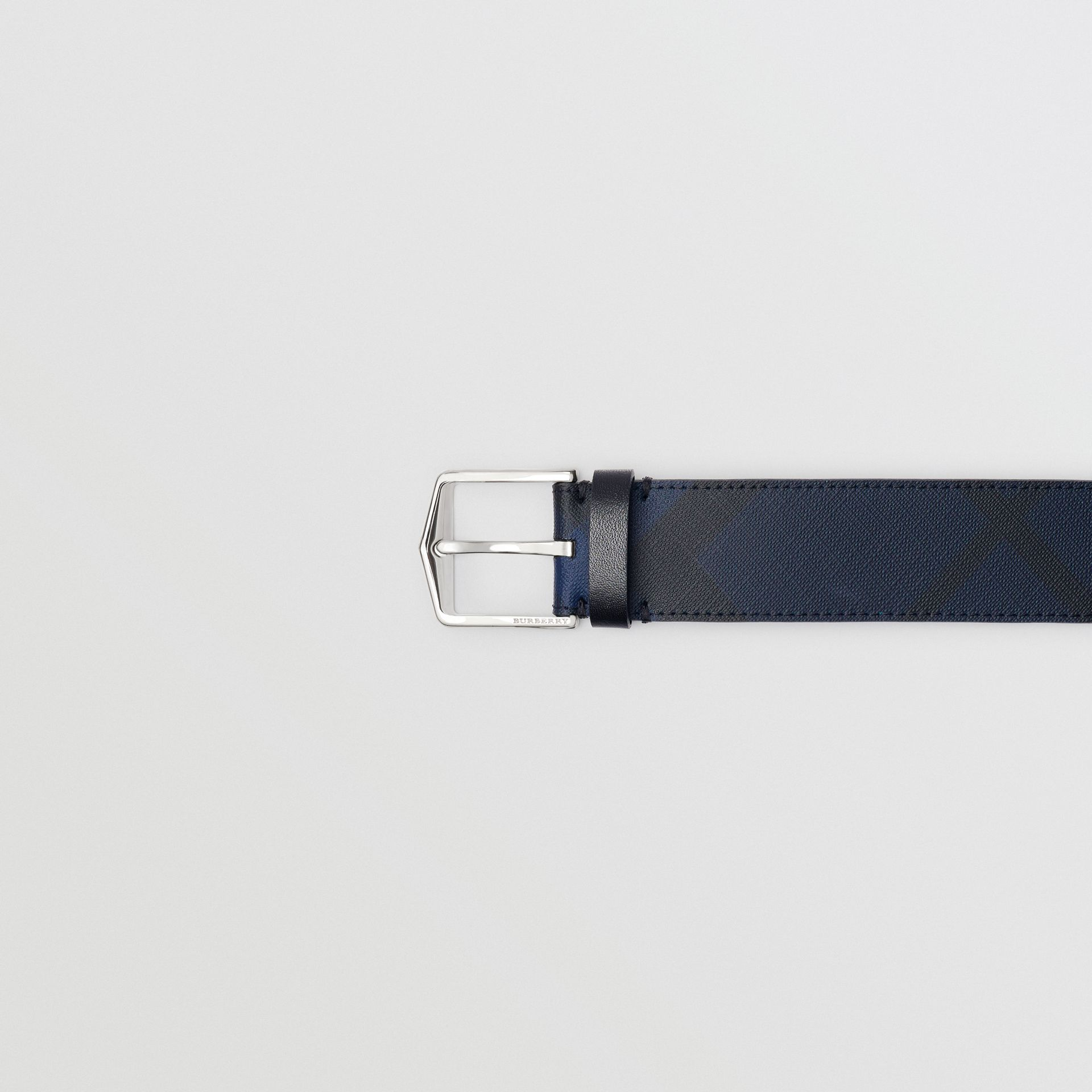 London Check Belt in Navy/black - Men | Burberry - gallery image 1
