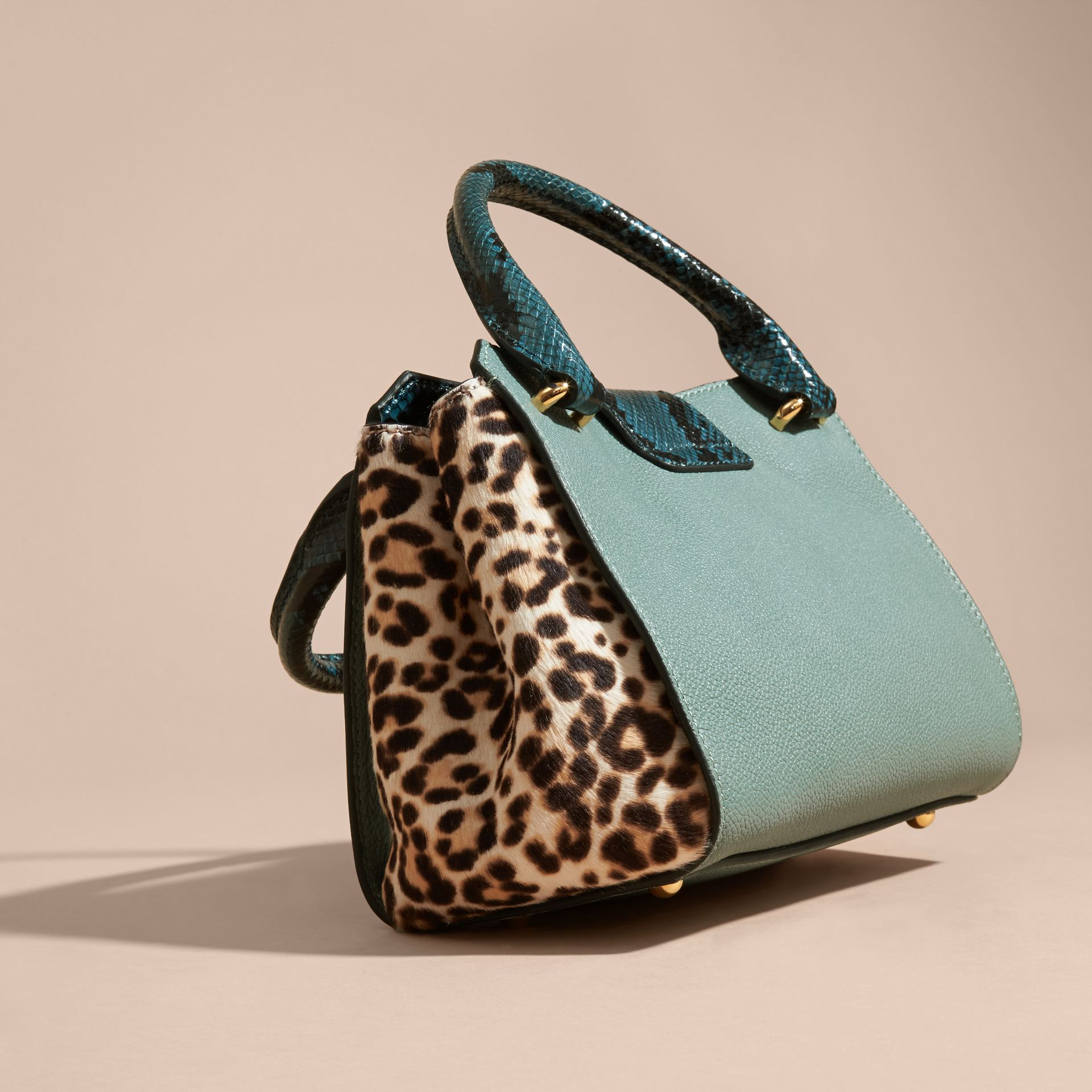 The Small Buckle Tote in Leather and  Leopard-print Calfskin in Eucalyptus Green - gallery image 5