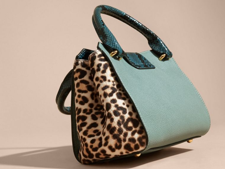 The Small Buckle Tote in Leather and  Leopard-print Calfskin Eucalyptus Green - cell image 4