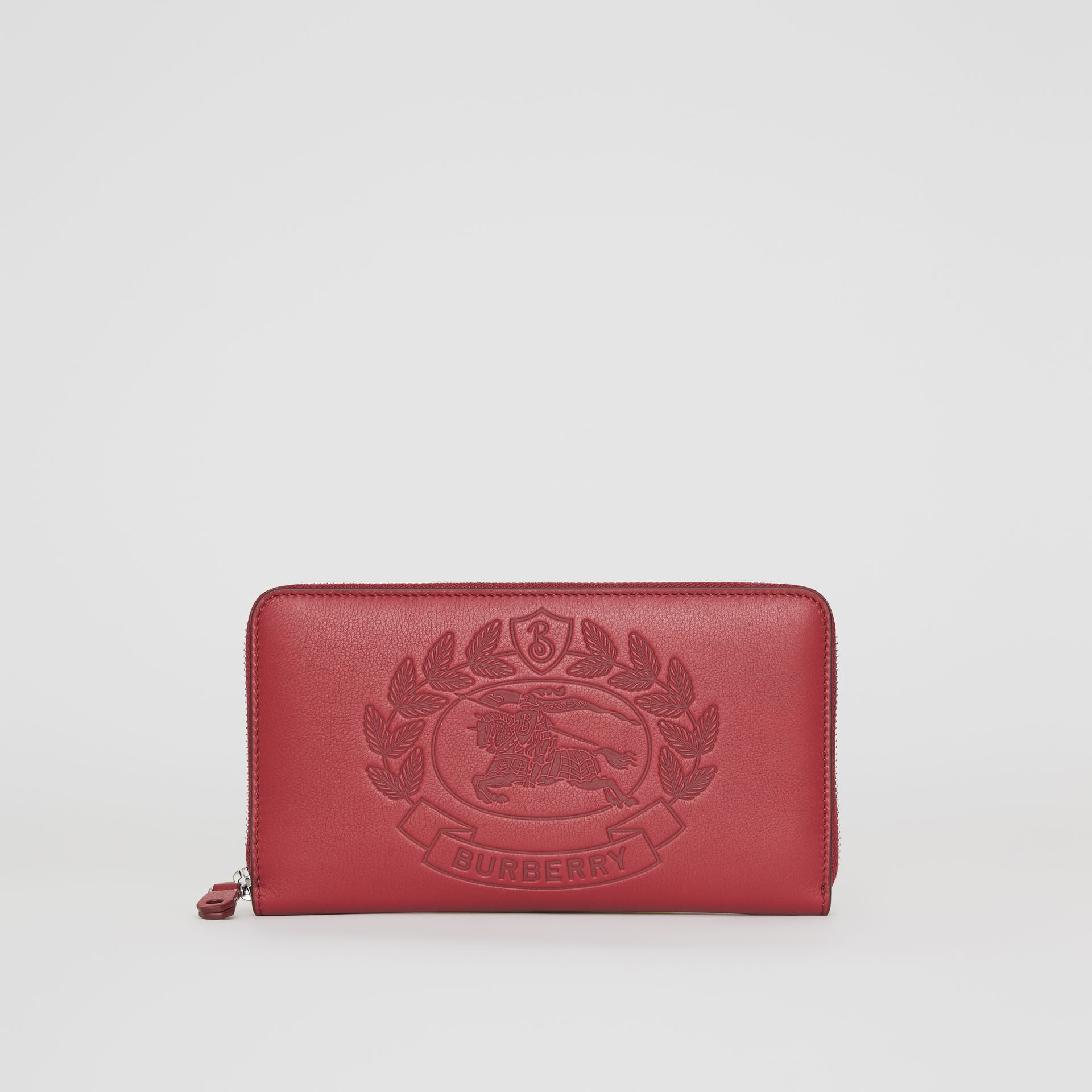Embossed Crest Leather Ziparound Wallet in Crimson - Men | Burberry - gallery image 2