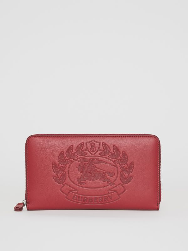 Embossed Crest Leather Ziparound Wallet in Crimson - Men | Burberry Australia - cell image 2