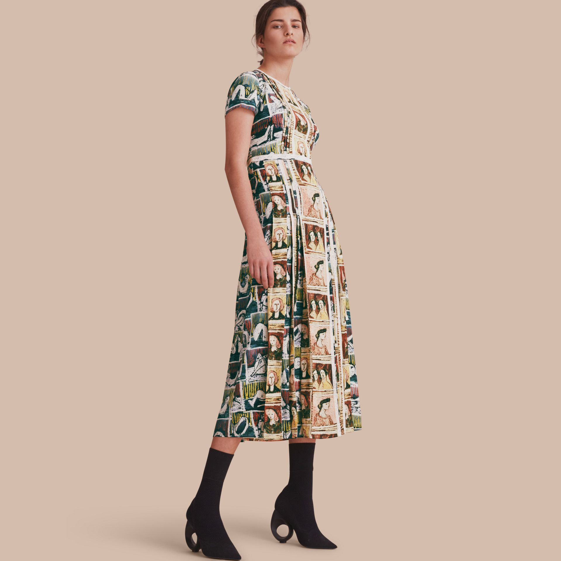 Framed Heads and Reclining Figures Print Silk Dress in Umber Brown - Women | Burberry - gallery image 1