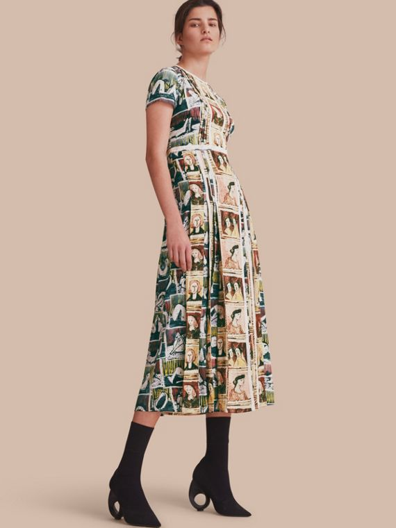 Framed Heads and Reclining Figures Print Silk Dress - Women | Burberry Canada