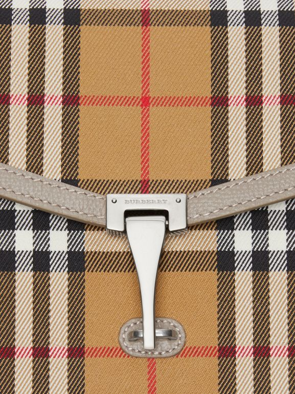 Small Vintage Check and Leather Crossbody Bag in Taupe Brown - Women | Burberry - cell image 1